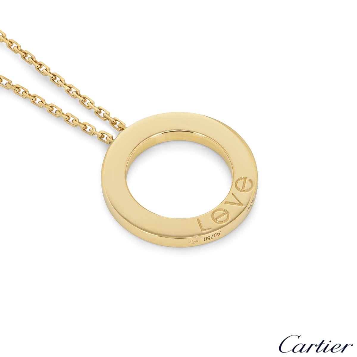 Cartier Yellow Gold 3 Diamond Love Necklace B7014500